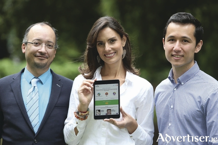 Pictured is Alison Canavan, Mother and Health & Wellness Coach launching ACT for Meningitis' international Lifesaving App with app creators Trevor Durity (l) and Victor Miko (r). The charity's app allows parents and individuals to check the signs and symptoms of meningitis. Winter is the most high risk time during which people of all ages could contract the illness. The ACT for Meningitis Lifesaving App is available for both Android & iPhone. Photograph: Leon Farrell / Photocall Ireland