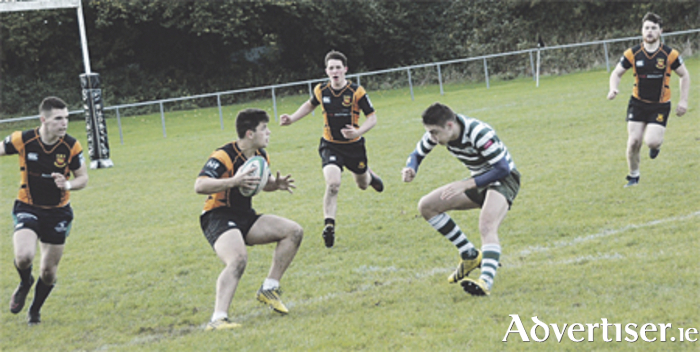 Buccaneers U20 fullback, David Keane, in action against Greystones