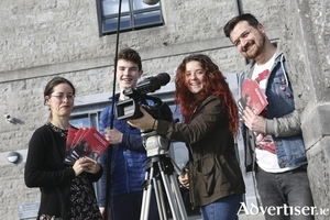 Annette Maye and Gar O'Brien of the Galway Film Fleadh with students from Colaiste Iognaid.