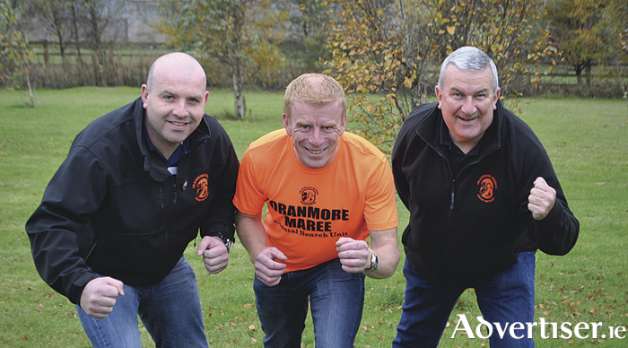 Frank Byrnes,(centre) MD of Frank Byrnes Autobody Repairs pictured at the launch of the 'Never Give Up'  fundraiser challenge in aid of the Oranmore Maree Coastal Search Unit, pictured with Mike Cummins and Stephen O'Sullivan of Oranmore Maree Coastal Search Unit. Donations welcome via www.ifundraise.ie /OMCSU
