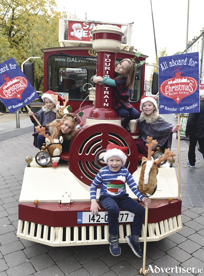 Kyra, Lily, Kate, Ruby, and Oscar pictured in Eyre Square for the launch of Christmas Market Galway 2016. Photo: Boyd Challenger.