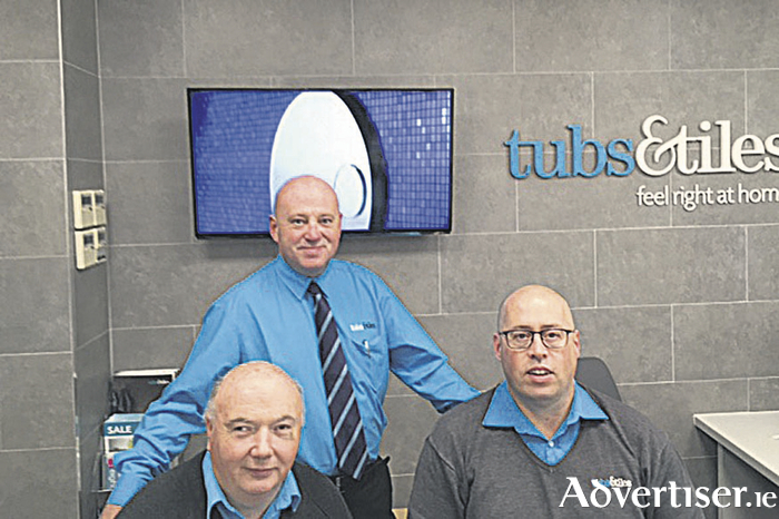 Tubs & Tiles Galway team pictured in the refurbished Ballybrit showroom; Danny Corbett, branch manager (standing) with John Walsh (L) and Malachy Keaveney(R)