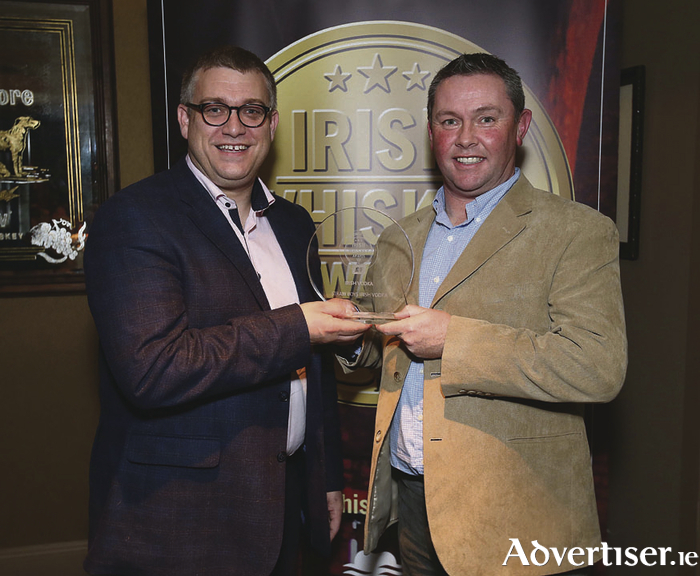Pictured at the Irish Whiskey Awards 2016 which took place in the Tullamore Distillery Visitor Centre recently was David Stapleton of The Connacht Whiskey Company which was named overall winner of Irish Vodka of the Year for Straw Boys Irish Vodka and a Gold Medal for Spade and Bushell Ten Year Old Single Malt with Brian Nation.