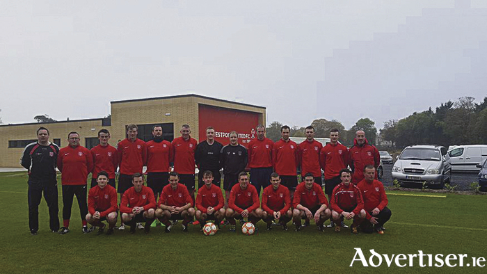 The Westport United team and management ahead of their first game at their new home ground last weekend.