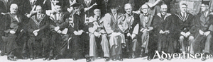 Academic staff at 1949 graduation ceremony (from left) Professor  Liam Ó Briain, Professor Cilian Ó Brolcháin, Professor  Michael Power, President Pádraig de Brún, Professor Tom Dillon, Professor Stephen Shea, Professor Joseph Donegan, (not known) Rev Thomas Fahy, Professor Eoin MacCionnaith, and registrar James Mitchell.