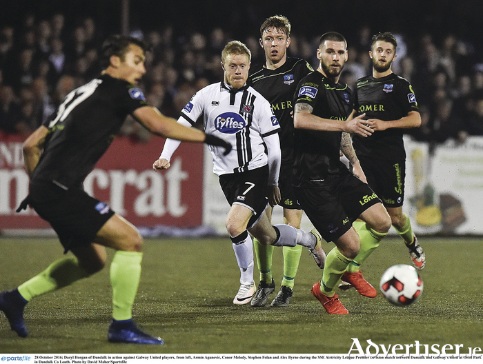 Daryl Horgan of Dundalk in action against Galway United players, from left, Armin Aganovic, Conor Melody, Stephen Folan and Alex Byrne
