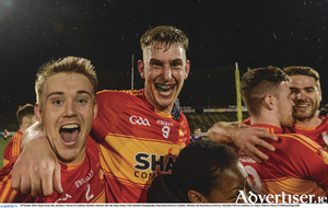 Shane Irwin, left, and Barry Moran of Castlebar Mitchels celebrate after the Mayo Senior Club Football Championship Final match between Castlebar Mitchels and Knockmore at Elverys MacHale Park in Castlebar, Co. Mayo.