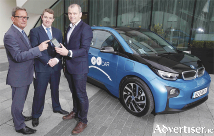 Pictured at the launch of the GoCar BMW i3 electric  vehicle range were Michael Nugent, director of sales  at BMW Group Ireland; Kevin Hennebry, head of marketing  at BMW Group Ireland; and Colm Brady, managing  director of GoCar.