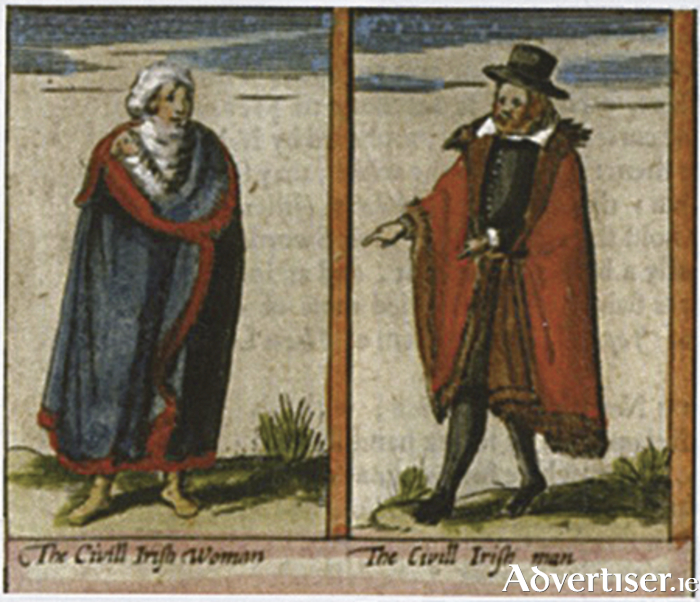 A wealthy Irish lady and man about 1600. The lady wears her brát or mantle, in Galway blue; while the man appears to have adapted his mantle to allow his arms free movement. (From The Tribes of Galway by Adrian Martyn).