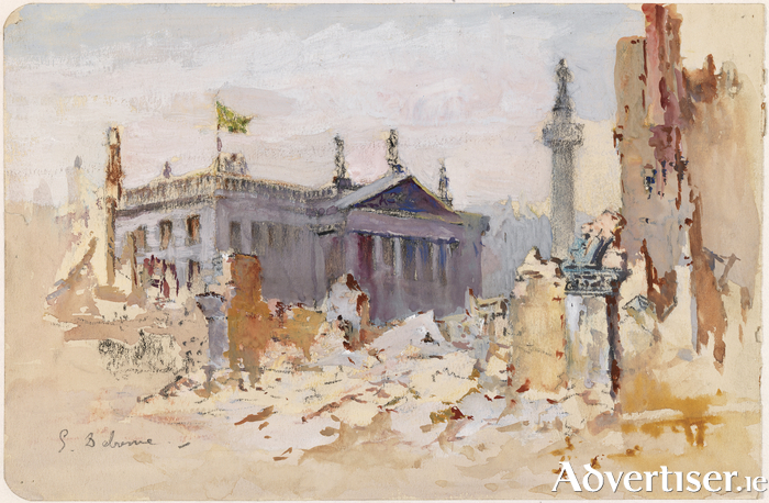 Edmond Delrenne, Sackville Street in Ruins with the Irish Republic Flag over the GPO, 1916