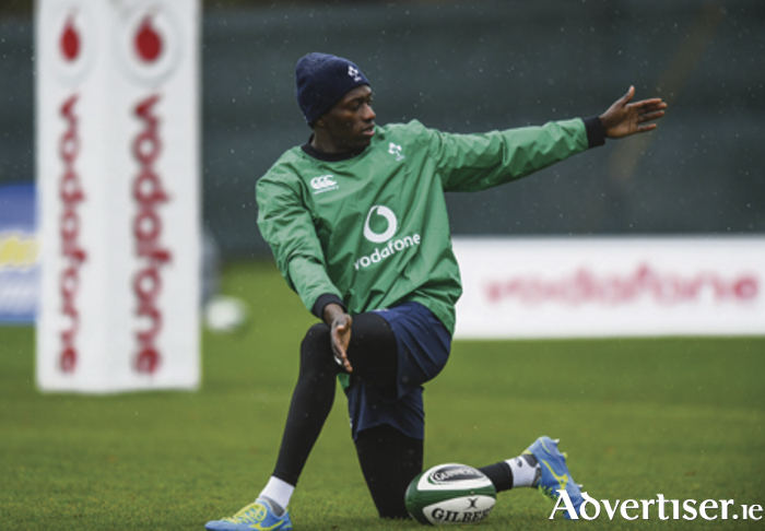 Connacht's Niyi Adeolokun during Ireland squad training at Carton House in Maynooth, Co Kildare, this week. Adeolokun and Tiernan O'Halloran  joined Kieran Marmion, Ultan Dillane and Finlay Bealham at the Ireland training camp in preparation for the visit of  Canada.  Photo by Ramsey Cardy/Sportsfile