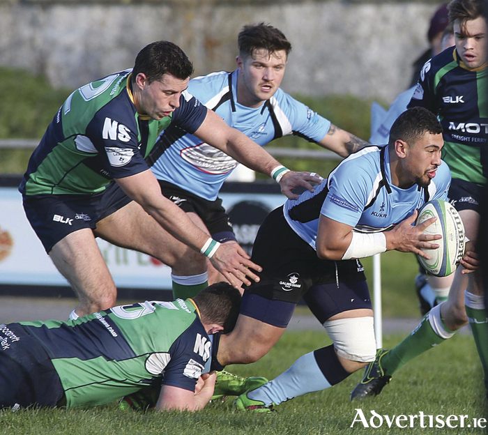 Galwegians outhalf Mitch Lam on the attack against Ballynahinch in  the Ulster Bank All-Ireland League division 1B game at Crowley Park. Photo:- Mike Shaughnessy