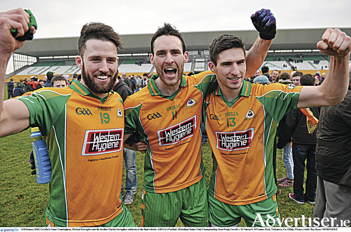 Corofin's Conor Cunningham, Michael Farragher and brother Martin Farragher will be hoping to celebrate another club victory when they face Castlebar Mitchels this weekend.