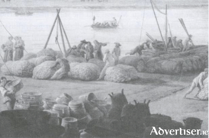 A scene which would have been typical at Galway docks in the 15th and 16 centuries (painting Tribes of Galway).