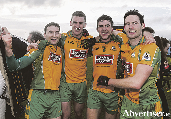 Corofin's Alan Burke, Ronan Steede, Daithi Burke and Michael Farragher enjoy victory in the Connacht GAA Football Senior Club Championship semi-final match over Castlebar Mitchels at MacHale Park. Photo by Ramsey Cardy/Sportsfile