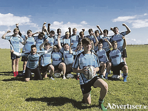 Ciaran O Flaithearta from Inis Mor with his team mates from Galwegians RFC.
