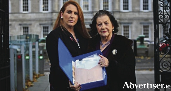 Harriet and her mother Phil at Dail Eireann this week.