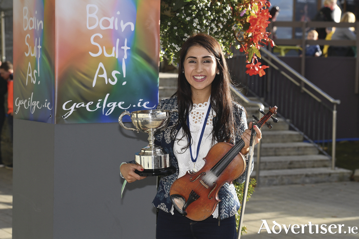 Éadaoin Ní Mhaiciín from Claremorris who won the fiddle competition at the recent Oireachtas Festival.