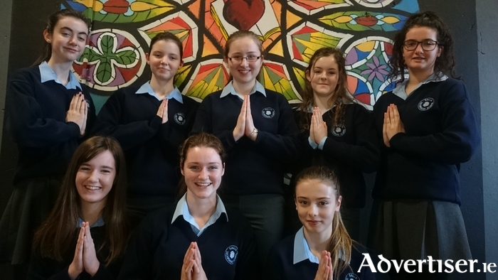 Back row (l-r): Aoife Dolan, Amy Jordan (Sr Mary Patrick), Kiera Mellett (Delores), Zoe McKenna (Sr Mary Lazarus), and Sorcha Fletcher (Mother Superior). Front row (l-r): Clara Kenna, Rebecca Kiernan, Karen Rumley (Sr Mary Robert).