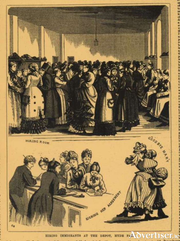 Earl Grey's orphans:  the 'morally pure', were selected from Irish workhouses for transport to Australia (cartoon from Women's Museum of Ireland)