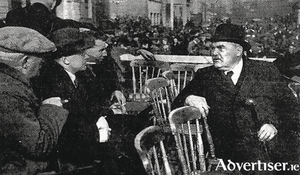 Máirtín Mór McDonogh with Patrick Hogan TD, James Dillon TD and TC McDonogh at a Blueshirt meeting in March 1934.