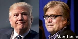 US president elect Donald Trump and his incoming chief strategist and Senior Counselor Steve Bannon.