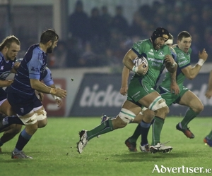 John Muldoon leads a Connacht charge against Cardiff Blues in action from the Guinness Pro12 clash at the Sportsground on Friday night. 					Photo:-Mike Shaughnessy