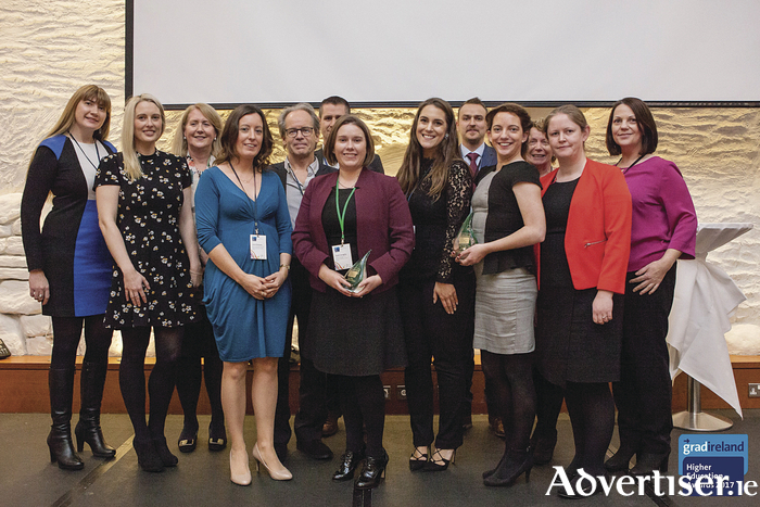 NUI Galway staff members pick up the awards for 'Best New Postgraduate Course' and 'Postgraduate Course of the Year - Science' at the recent gradireland Postgraduate Course of the Year Awards.