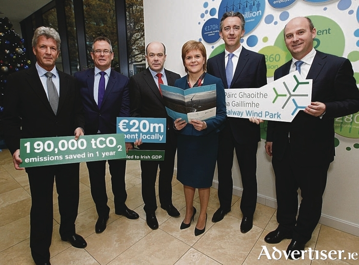 Pictured at the launch were (l-r) SSE Ireland chairman Mark Ennis, SSE plc finance director Gregor Alexander, Denis Naughten, Minister for Communications, Climate Action and Environment, First Minister of Scotland, Nicola Sturgeon, Fergal Leamy, Coillte CEO and Stephen Wheeler, SSE Ireland managing director. Picture Conor McCabe Photography.