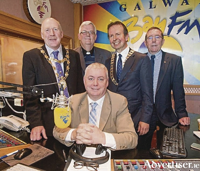 Pictured with Keith Finnegan at the launch of the Lions Club Radio Auction are Mayor Noel Larkin, Diocesan administrator Canon Michael McLoughlin, Galway Lions Club president Matt Molloy, project chairman Brian O'Keeffe.