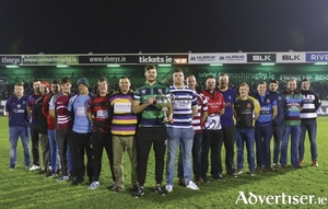 Representatives from the Connacht Junior sides including, Ballina, Westport, Castlbar, Ballinrobe, Claremorris and Ballyhaunis at the launch of the Connacht Junior Cup in the Sportsground last weekend. Photo: Inpho.