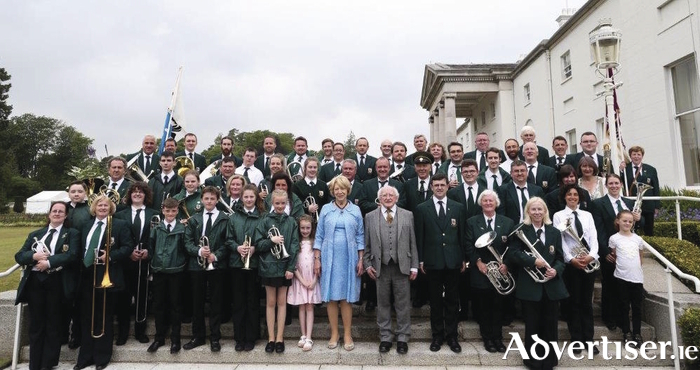 St Patrick's Brass Band with Uachtarán na hÉireann Michael D Higgins and First Lady Sabina.