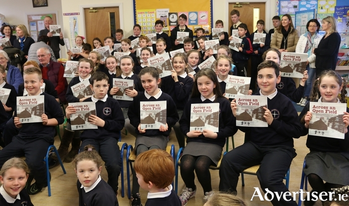 Pupils of Northampton National School, Kinvara, at the launch of Across An Open Field.