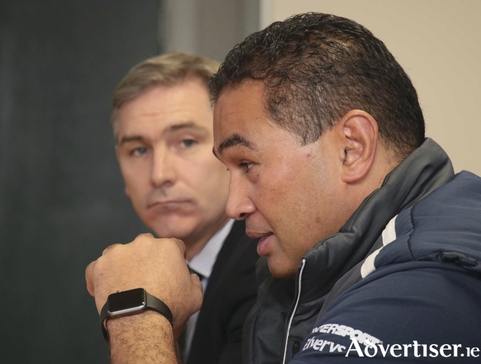 Connacht coach Pat Lam with Connacht Rugby CEO Willie Ruane at Wednesday's press conference. Photo:-Mike Shaughnessy