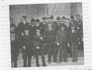 A big man: Máirtín Mór McDonogh (hands behind his back, centre) on the steps of the Town Hall following the 1899 Galway county council election.