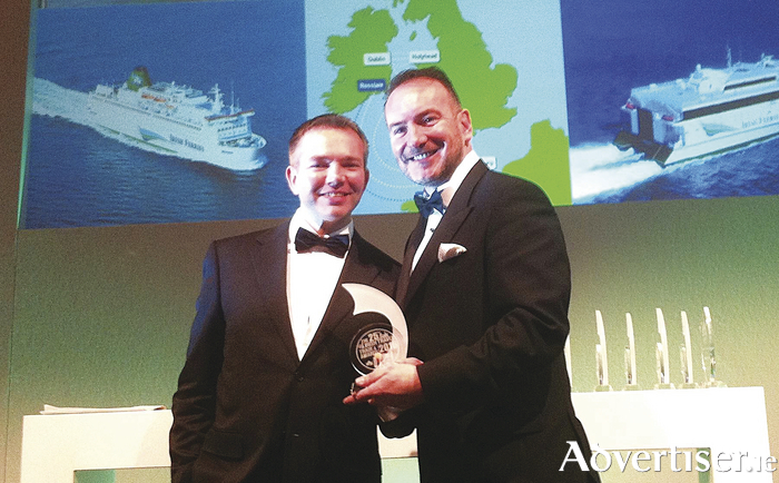 Irish Ferries' head of passenger sales Dermot Merrigan (right) pictured receiving the 'Best Ferry Company 2016' award from sponsor Niall McCarthy of Cork Airport at the twenty fifth silver jubilee Irish Travel Trade News Awards ceremony held in Dublin recently.