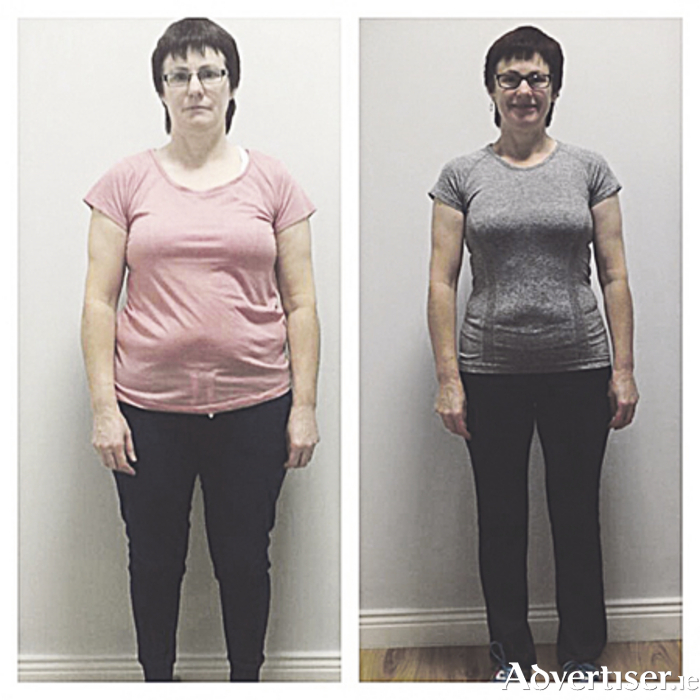 Well done to Gina Duffy who achieved incredible results with Sásta Athlone: weight loss of 33lbs, a fat percentage loss of 8.7 per cent, visceral fat loss of 4, and 57cm reduction in measurements, as well as gaining 2.6lb of muscle. She also reduced her metabolic age by 16 years.