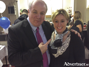 Gavin Duffy and Yvonne Kilcullen at a recent	Bank of Ireland Yvonne Kilcullen Events	 provided	balloon columns.