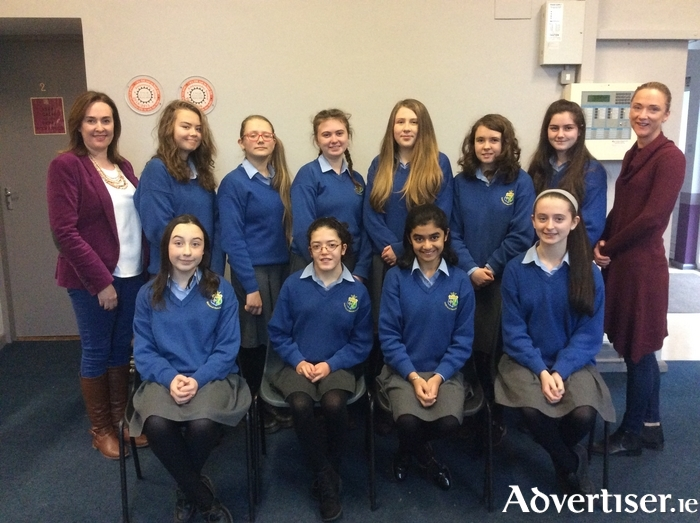 Winning students back row (l-r): Ms  Lynch (science teacher), Nicol Bukovska, Ugne Budreckyte, Susan Ralph, Julianna Aitken, Niamh Ward, Brianna Moran and Ms Flannelly (IT teacher). Front row: Lilly Behan, Freya Cresham, Manmehak Kaur, and Lucaí Murphy