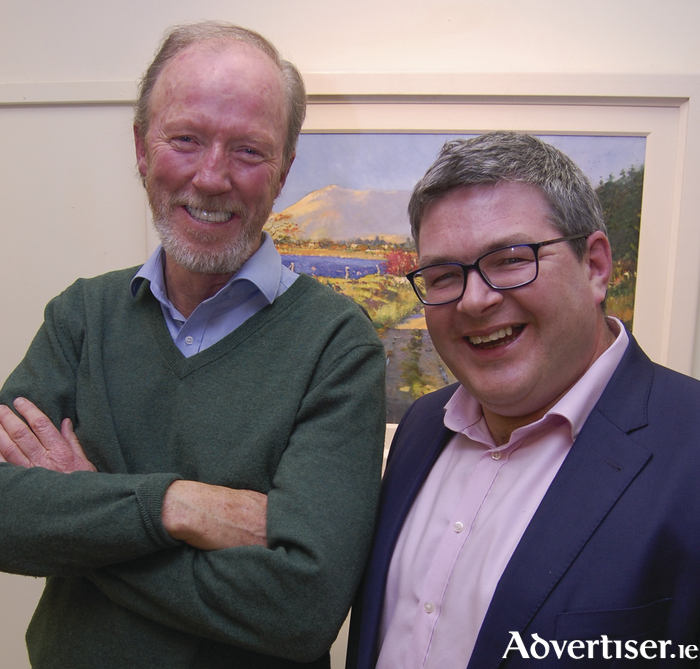 Artist Paul Guilfoyle and Pat McGrath, Western Correspondent RTÉ, at the recent launch of Paul's exhibition in the Kenny Gallery.