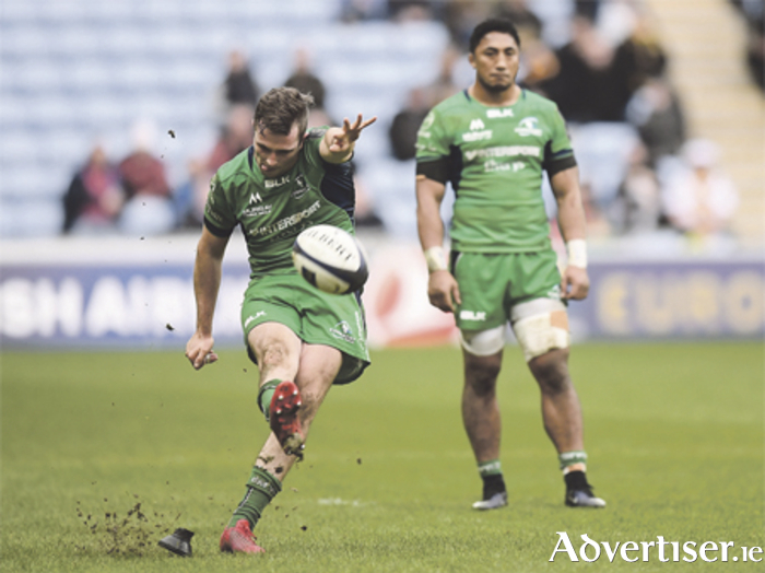 Jack Carty kicks a penalty during the European Rugby Champions Cup Pool 2 Round 3 match between Wasps and Connacht at the Ricoh Arena in Coventry. Photo: Stephen McCarthy/Sportsfil