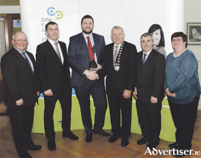 Chief executive of Westmeath County Council, Pat Gallagher; James and Adrian Sherlock, Smart Business Analytics; Cathaoirleach Frank McDermott; Deputy Kevin 'Boxer' Moran; and Mary Murray of LEO Westmeath pictured at the awards