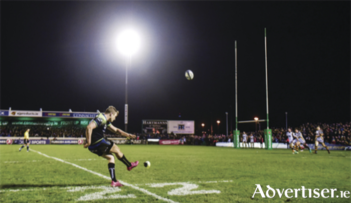 Jack Carty of Connacht kicks the match-winning conversion against Wasps during the European Rugby Champions Cup Pool 2 Round 4 match between Connacht and Wasps at the Sportsground, Galway.  Photo by Matt Browne/Sportsfile