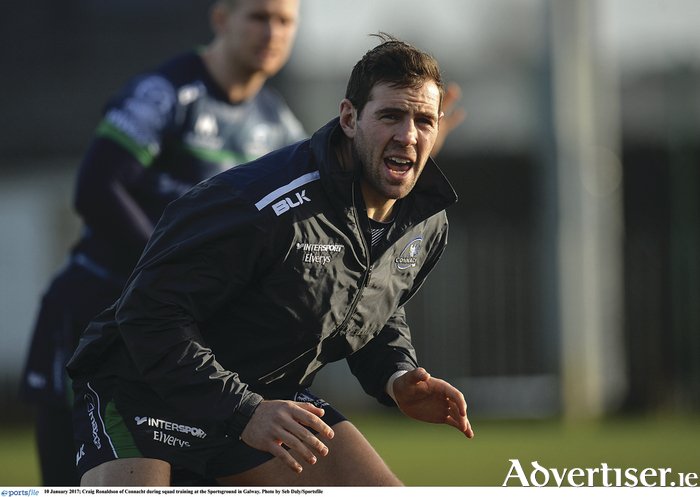 Craig Ronaldson, in training this week, is set to return to action for Connacht against Zebre, relieving pressure on the outhalf position due to Jack Carty's injury.