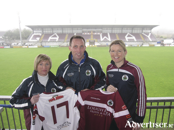 Galway Women's FC new management team:  Assistant manager Maz Sweeney, manager Billy Clery,  and Susie Cunningham, strength and conditioning coach.