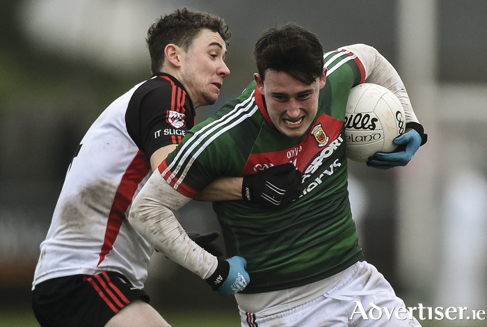 Breaking Bear: Liam Irwin breaks for goal for Mayo. Photo:Sportsfile