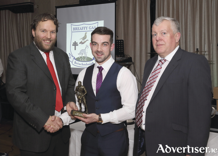 Edwin McGreal presents the Breaffy GAA Junior Player of the Year award to Ciaran Rice pictured with Kevin McGing Club chairman at Breaffy GAA Dinner Dance in Breaffy House Hotel. Photo: Michael Donnelly