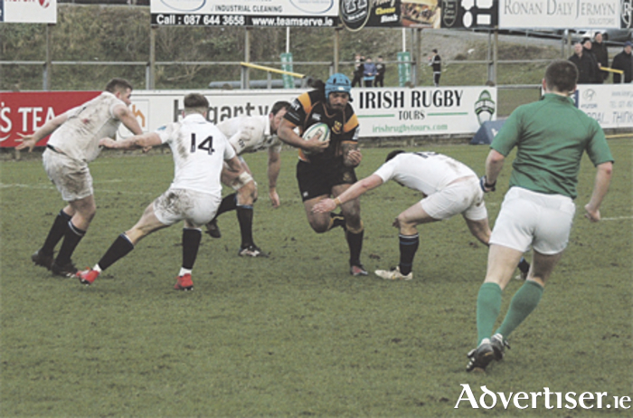 Mata Fifita tries to break through the Cork Constitution defence during last weekend's defeat