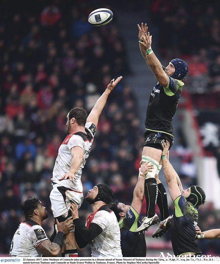 Positive play: Captain John Muldoon secures line-out for Connacht against Toulouse in the final pool fixture of this season's Champions Cup.