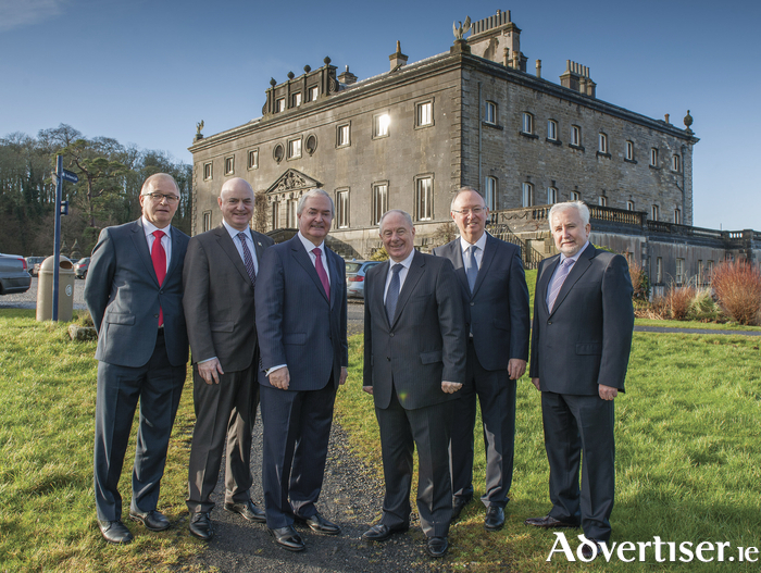 Pictured at Westport House on Friday were: Mr. Owen Hughes, Mr. Peter Hynes (CEO of Mayo County Council), Mr. Cathal Hughes (Chairman of The Hughes Group), Minister of State Michael Ring T.D., Mr. Harry Hughes and Con Casey (Casey McGrath). Photo: Michael McLaughlin